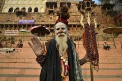Varanasi, India, 26 November, 2017: Portret van sadhu Stock Afbeelding