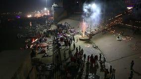 Ganges River ghat during Diwali celebration. stock footage