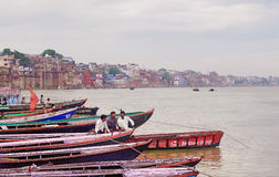 Varanasi , India. VARANASI, INDIA-01 OCT: View of Ganges river with the boats and city 01 Oct, 2013 in Varanasi. Varanasi is the spiritual capital of India Stock Images