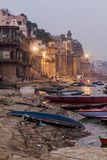 VARANASI, INDIA - OCTOBER 25, 2016: Evening view of a Ghat riverfront steps of sacred river Ganges in Varanasi, Ind. Ia stock photography