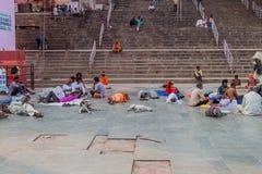 VARANASI, INDIA - OCTOBER 25, 2016: People at Dashashwamedh Ghat riverfront steps of the River Ganges in Varanasi, Ind. Ia royalty free stock photos