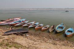 VARANASI, INDIA - OCTOBER 25, 2016: Small boats at river Ganges in Varanasi, Ind. Ia stock photography