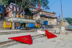 VARANASI, INDIA - OCTOBER 25, 2016: View of Gaay Ghat riverfront steps of sacred river Ganges in Varanasi, Ind. Ia stock photos