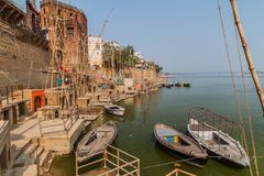 VARANASI, INDIA - OCTOBER 25, 2016: View of a Ghat riverfront steps of sacred river Ganges in Varanasi, Ind. Ia royalty free stock photo