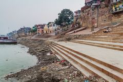 VARANASI, INDIA - OCTOBER 25, 2016: View of a Ghat riverfront steps of sacred river Ganges in Varanasi, Ind. Ia royalty free stock image