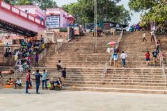 VARANASI, INDIA - OCTOBER 25, 2016: View of Ghats riverfront steps leading to the banks of the River Ganges in Varanasi. India stock photos