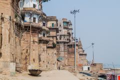 VARANASI, INDIA - OCTOBER 25, 2016: View of Ghats riverfront steps leading to the banks of the River Ganges in Varanasi. India stock images
