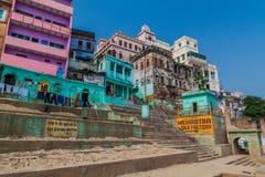 VARANASI, INDIA - OCTOBER 25, 2016: View of houses at sacred river Ganges riverfront in Varanasi, Ind. Ia royalty free stock photos