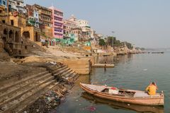 VARANASI, INDIA - OCTOBER 25, 2016: View of Lal Ghat riverfront steps of sacred river Ganges in Varanasi, Ind. Ia royalty free stock photography