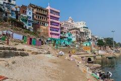 VARANASI, INDIA - OCTOBER 25, 2016: View of Lal Ghat riverfront steps of sacred river Ganges in Varanasi, Ind. Ia stock photos