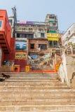 VARANASI, INDIA - OCTOBER 25, 2016: View of Narad Ghat riverfront steps leading to the banks of the River Ganges in. Varanasi, India royalty free stock photos