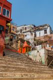VARANASI, INDIA - OCTOBER 25, 2016: View of Narad Ghat riverfront steps leading to the banks of the River Ganges in. Varanasi, India stock photo