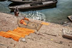 Varanasi, India. Man bath himselves in the Ganges river. Varanasi, India. Old Man bath himselves in the Ganges river stock images