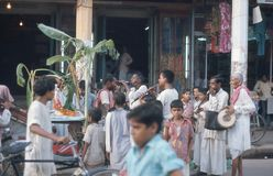 1975. India. Puja in the street. Varanasi. The picture shows a Puja being performed in a street, in Varanasi Royalty Free Stock Image