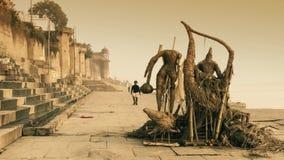 Varanasi, India. the quay. Varanasi cityscape early in the morning stock video