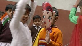 Varanasi, India, Republic Day, 26 January. Dancing children and flags. stock video footage