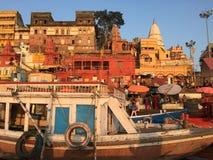 Varanasi India. Varanasi (From Varuna Ghat to Assi Ghat, hence the name Varanasi) (Hindustani pronunciation: [ʋaːˈraːɳəsi] ), also known as royalty free stock photography
