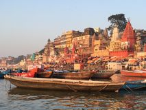 Varanasi India. Varanasi (From Varuna Ghat to Assi Ghat, hence the name Varanasi) (Hindustani pronunciation: [ʋaːˈraːɳəsi] ), also known as Benares stock photo