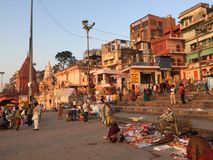 Varanasi India. Varanasi (From Varuna Ghat to Assi Ghat, hence the name Varanasi) (Hindustani pronunciation: [ʋaːˈraːɳəsi] ), also known as Benares Royalty Free Stock Photography