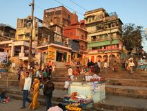 Varanasi India. Varanasi (From Varuna Ghat to Assi Ghat, hence the name Varanasi) (Hindustani pronunciation: [ʋaːˈraːɳəsi] ), also known as Benares stock images