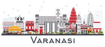 Varanasi Indien stadshorisont med färgbyggnader som isoleras på Whi