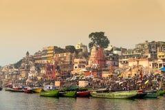 Varanasi in morning with Ganga River. Royalty Free Stock Image
