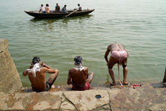 Varanasi. MP045: Local residents take bath in Ganges River or Ganga River on the ghats of Varanasi, Uttar Pradesh, India Royalty Free Stock Photo
