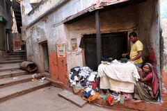 Varanasi. MP111: A man ironing clothes at Varanasi, Uttar Pradesh, India Royalty Free Stock Photo