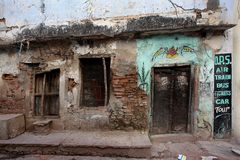 Varanasi. MP102: A old dilapidated residential structure at Varanasi, Uttar Pradesh, India Stock Image