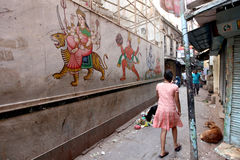 Varanasi. MP104: A wall is painted with Hindu gods and goddess at Varanasi, Uttar Pradesh, India Royalty Free Stock Image