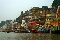 Varanasi på gryning Fotografering för Bildbyråer