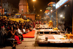 VARANASI: People gather to watch night ritual  Stock Photo