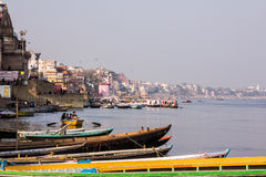 Varanasi, river bank and ghats. The bank of the river Ganges with the old city of Varanasi and the ghats Royalty Free Stock Photography
