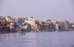 Varanasi, river bank and ghats Royalty Free Stock Photo