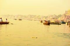 Varanasi river Ganges, November 2016 stock images