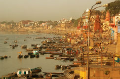 Varanasi Riverside. Morning at the Ganges, Varanasi, India Royalty Free Stock Photos