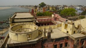 Varanasi Skyline. View above Varanasi at the Ganges, with the old observatory in front, India Stock Photos