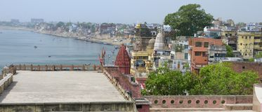 Varanasi Skyline. View above Varanasi at the Ganges, India Royalty Free Stock Photography