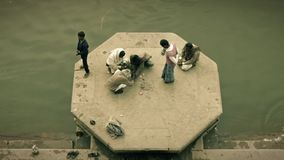 Varanasi is the spiritual capital of India. People at the Banks of the Ganges River, Varanasi, India stock video