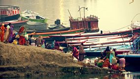Varanasi, spiritual capital of India. Women at the Banks of the Ganges River, Varanasi, India stock footage