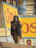 Varanasi, Uttar Pradesh India, Listopad, - 3, 2009 Aghori sadhu z popiółem na jego twarzy odprowadzeniu na ghats Zdjęcie Royalty Free