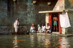 Varanasi, Uttar Pradesh/India - November 1998: Hindu brahmins perform prayer ceremony stock photo