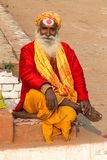 Varanasi, Uttar Pradesh, India - 12.15.2017; religious ascetic a. Religious ascetic posing for photos at the ghats stock images