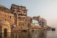 Varanasi, Uttar Pradesh, India. A view from River Ganges of Old. Historical Varanasi city royalty free stock photos