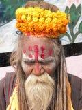 Varanasi Uttar Pradesh, Indien - November 2, 2009 hinduiska Sadhu Baba med ringblommablommagirlanden Arkivfoton