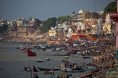 Varanasis Ghats during solar eclipse Royalty Free Stock Photo
