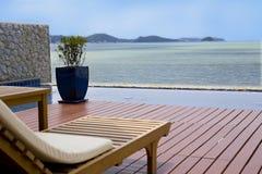 Varanda com uma opinião de oceano Fotos de Stock Royalty Free