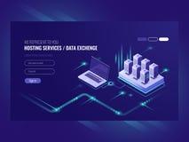 Varande värd service för webbplatser, serverrumkugge, datorhall, data som söker, isometrisk vektor för nätverksadministration stock illustrationer