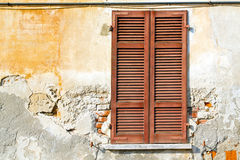 Varano borghi palaces italy     wood venetian blind in the con Royalty Free Stock Image