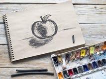 Varas da aquarela e do carvão vegetal Imagem de Stock